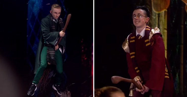 2 Guys Fly Down To The Stage And Perform A Jaw Dropping Harry Potter Themed Dance Off  Copy