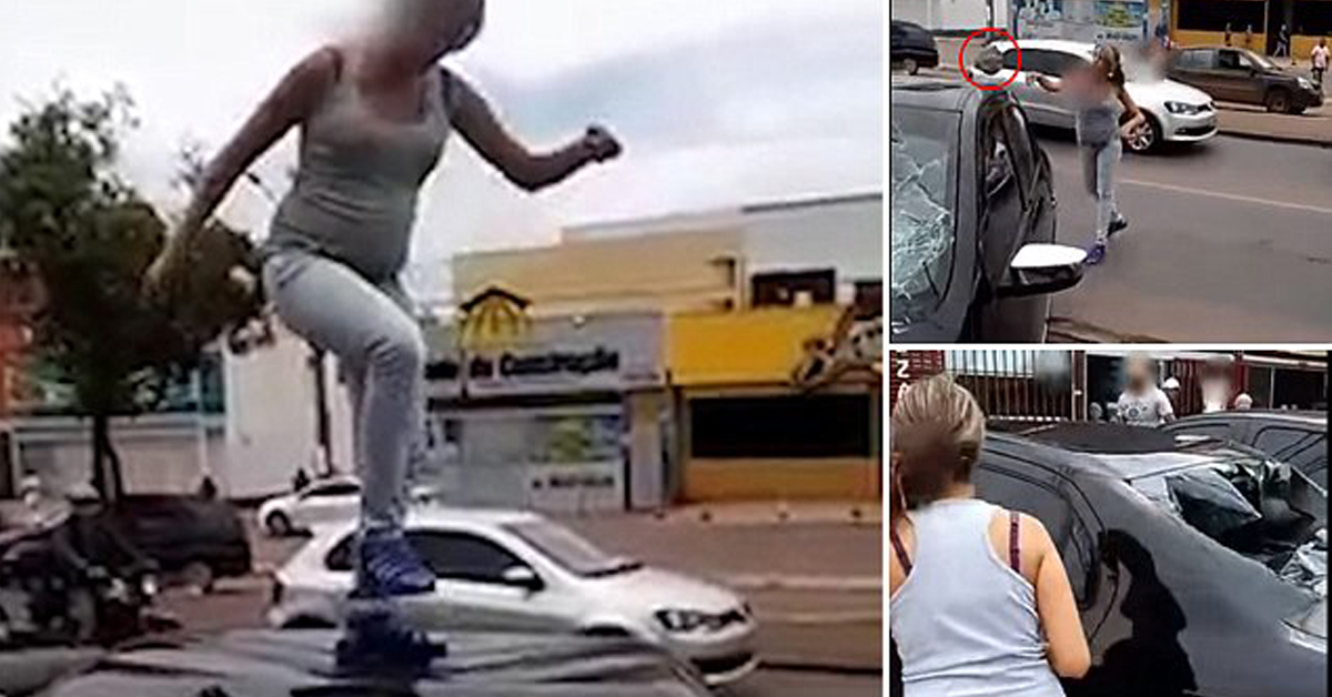 Scorned Brazilian Pregnant Wife Trashes Husband's Car Whilst He Dines With Mistress