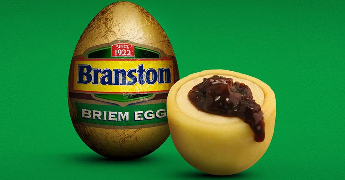 Branston Share Idea For Branston Pickle EASTER EGG With Cheddar Shell & Soft Brie Core