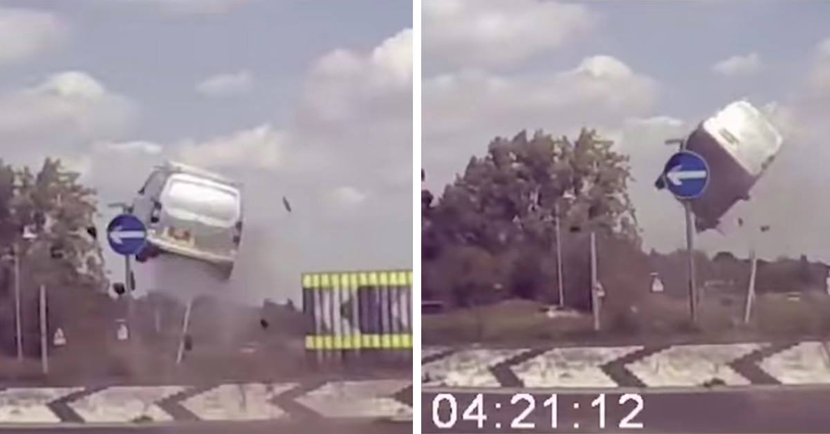 Van Flies 10+ Foot In The Air After Hitting Roundabout Head On