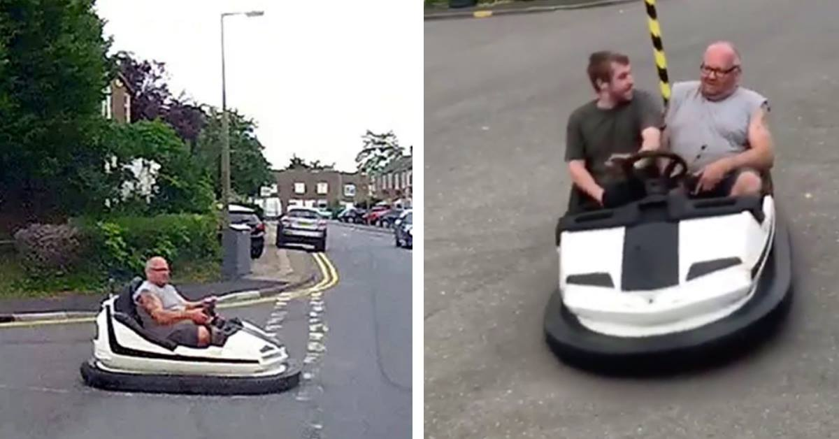 Man Casually Drives Bumper Car Down Busy Road Without A Care In The World