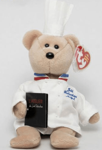 3926e5490be This Beanie Baby is incredibly rare and you ll be lucky to get your hands  on one! This chef bear was created in honour of the Michelin-star chef Joël  ...
