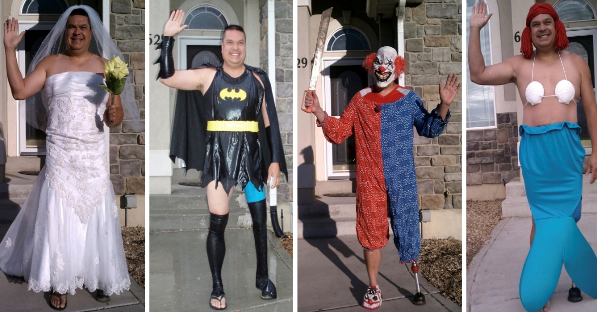 Hilarious Dad Embarrasses Son With A Fabulous New Costume Each Day!
