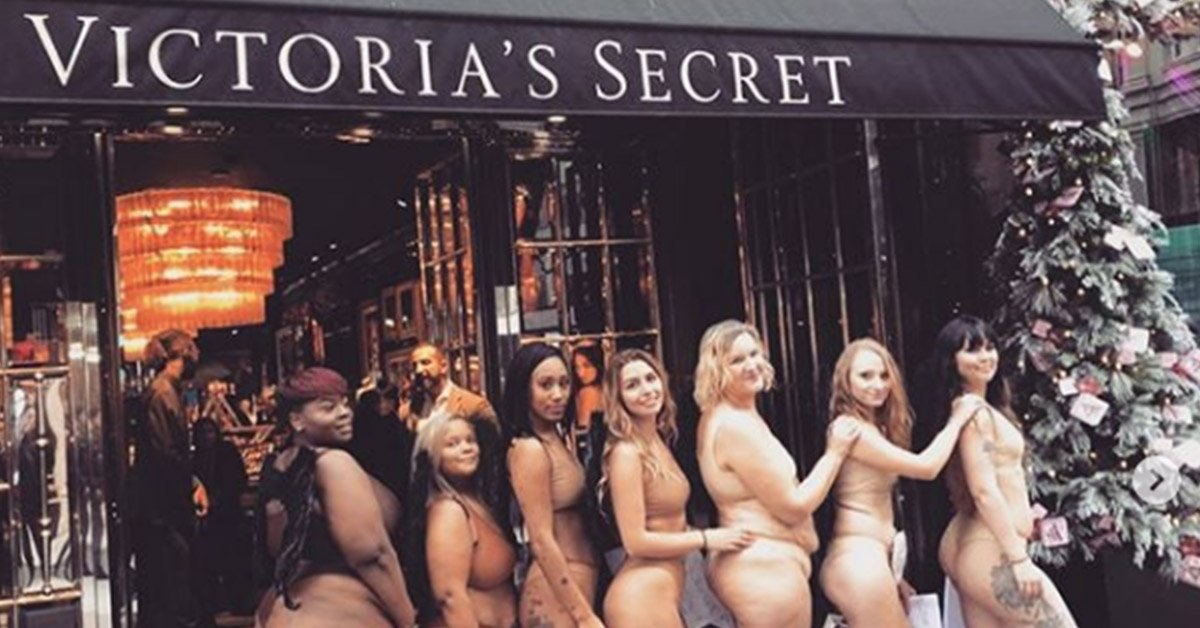 Women Strip Down To Underwear And Protest Outside Victoria Secrets London