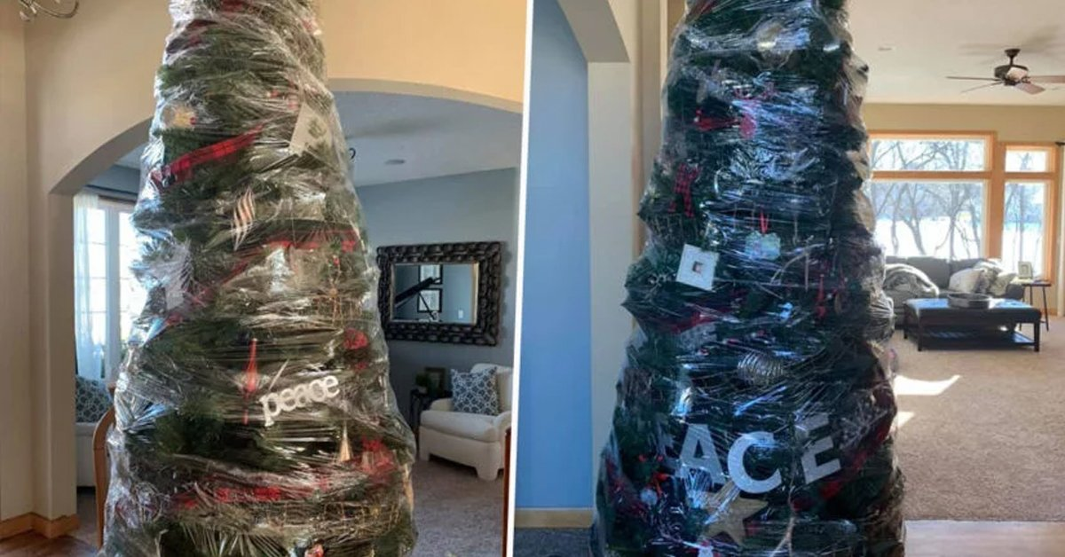 Mom Wraps Christmas Tree In Plastic To Avoid The Hassle Next Year
