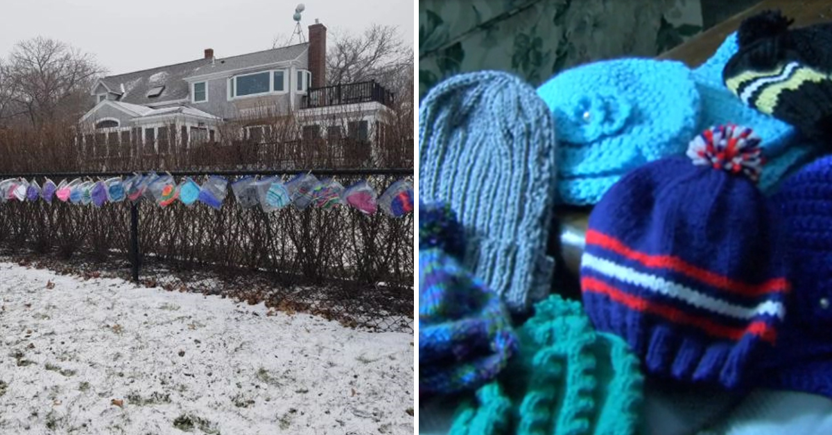 87 Y-O Lady Knits Hats Everyday And Leaves Them Out For Local Children