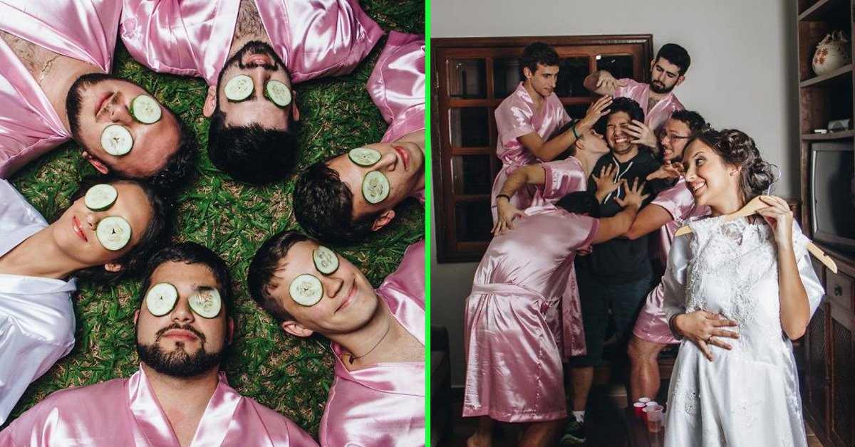 Bride-to-be Doesn't Have Any Girlfriends, So Her Bros Step In For Bridal Photoshoot