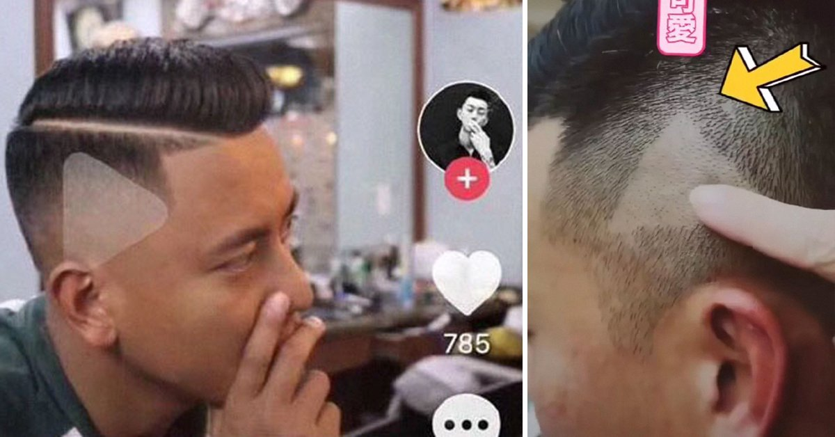 Barber Is Shown Video Of Desired Haircut, Misunderstands And Shaves 'Play' Sign Into Customer's Head
