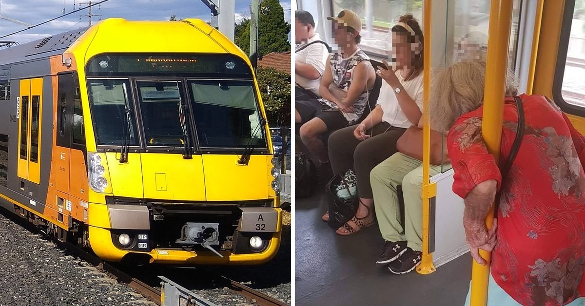 Outrage On Social Media After Young Passengers Are Pictured Staring At Phones While Ignoring Elderly Woman Having To Stand