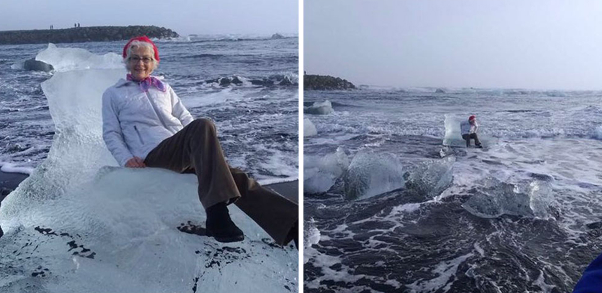 Grandma Has To Be Rescued After Posing For Pic On 'Ice Throne' And Getting Swept Away