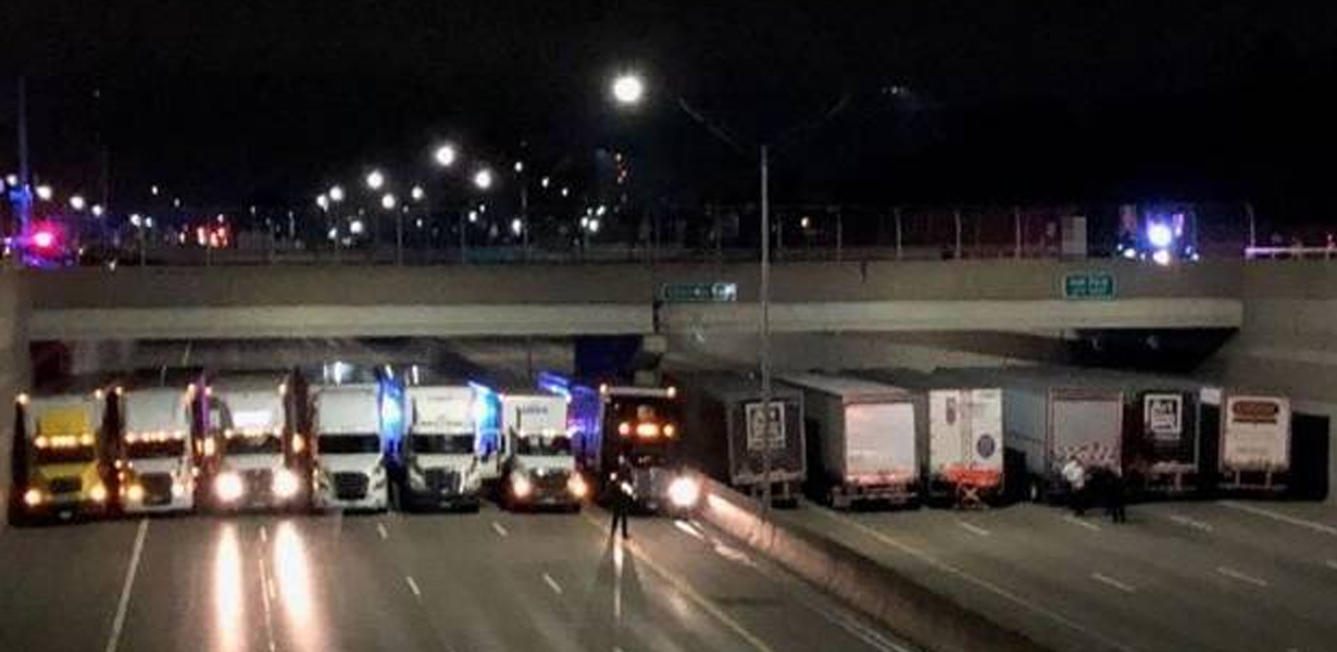 Police And Local Truckers Join Forces To Stop Suicidal Man Jumping From Bridge