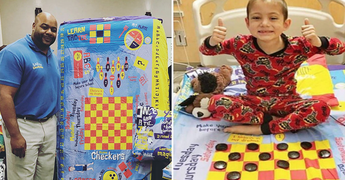 Superhero Dad Creates Board-Game Bedsheets For Sick Children To Enjoy In Hospital